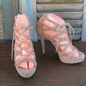 Chinese Laundry lace up strappy open toe heels 4in